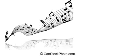 musical staff theme - Musical notes staff theme for use in...