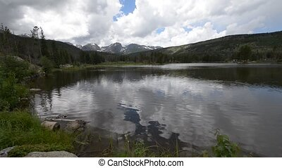 Sprague Lake Colorado - Dramatic sky over trees and...