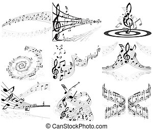 set of notes stuff - Set of nine vector musical notes staff