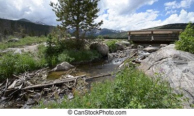 Flowing Creek and small bridge - Flowing creek, water...