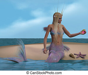 Mermaid and Seashells - A mermaid sits of a beach and...
