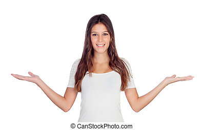 Young casual woman with arms outstretched symbolizing...