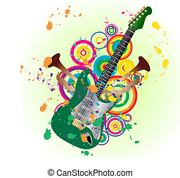 grunge guitar - Grunge vector music background for design...