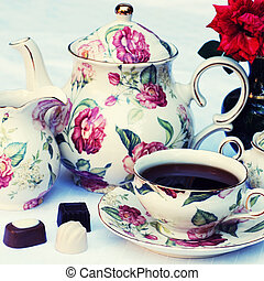 english tea - Traditional english tea with floral dishware...