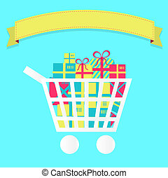 Shopping cart full of packages