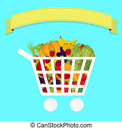 Grocery cart full of vegetables - Shopping cart full of...
