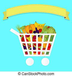 Grocery cart full of vegetables - Shopping cart full of...