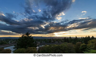 Time Lapse of Sunset Portland OR - Time Lapse Movie of...