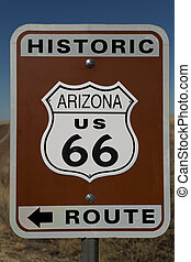 Hisoric route 66 sign in Arizona - Road sign marking the...