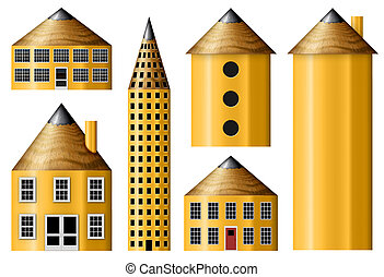 Pencil Buidings - Illustration of houses and buildings made...