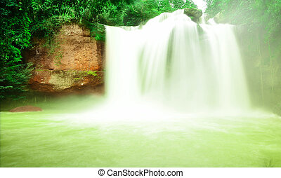 Haew Suwat Waterfall in Kao Yai Nation park of Thailand