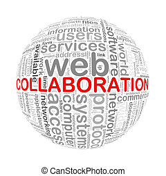 Wordcloud word tags ball of collaboration - Illustration of...