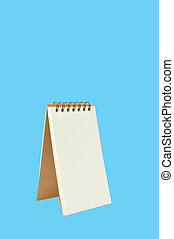 Blank Ring Binder Notepad isolated on Blue Background with...
