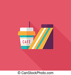 sandwich and coffee flat icon with long shadow,eps10