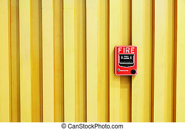 Fire Alarm swith on Wood Background - Fire alarm red box...