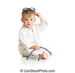 child playing doctor with stethoscope isolated