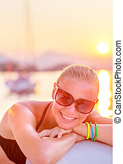 Cheerful girl in sea cruise - Portrait of attractive...