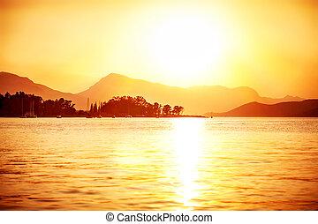 vacker, solnedgång, synhåll