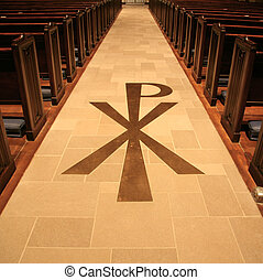 PX Monogram - PX the Chi-Rho monogram on church floor