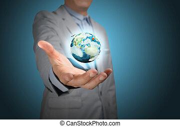 presa, affari, globo, mano, Terra, maschio