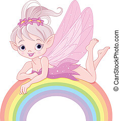 Pixie fairy on rainbow - Illustration of beautiful pixie...