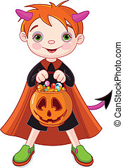 Halloween trick or treating boy - Halloween costumed boy...