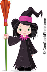 Halloween Witch - Halloween which holds broom