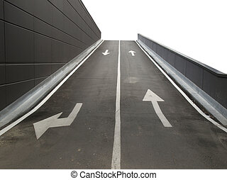 Garage ramp - Garage access ramp with two lanes with arrow...
