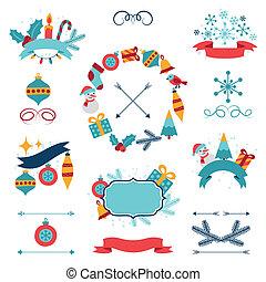 Feliz, Natal, Feliz, Novo, ano, bandeiras,...