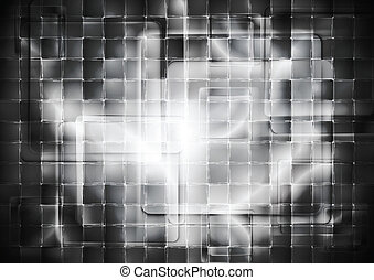Transparent glass dark squares. Abstract tech geometry...