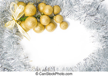 Christmas background with gold and silver ornaments to...