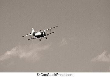 Biplane in sky - Legendary Soviet biplane Antonov