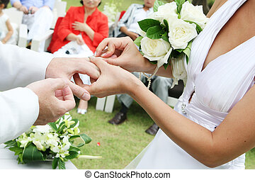Exchanging wedding rings - Close-up of a couple exchanging...