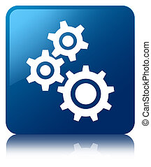 Gears icon glossy blue reflected square button