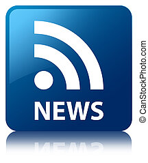 News rss feed glossy blue reflected square button