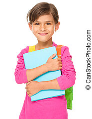 Young girl is holding book - Young girl is holding exercise...