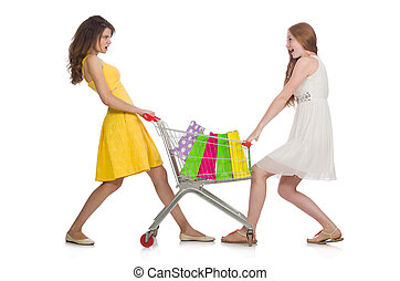 Two female friends during shopping