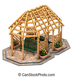 Hut wooden gazebo - Illustration, hut wooden gazebo and...