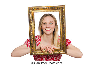 Woman holding picture frame isolated on white
