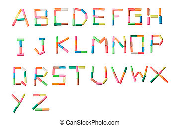 colorful plasticine alphabet on the white background