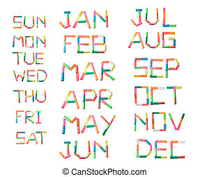 colorful plasticine alphabet calendar set on the white...