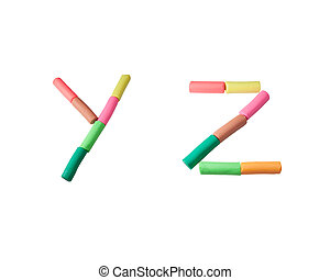 colorful plasticine alphabet on the white background (Y Z)