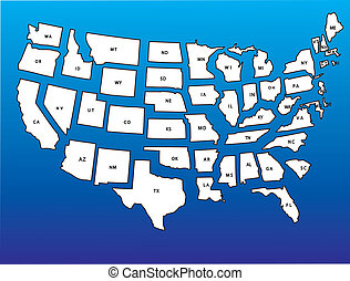 usa map - A vector usa map with all states in separate...