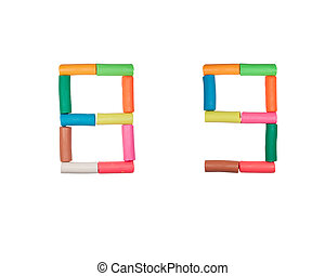 colorful plasticine numeric alphabet set on the white...