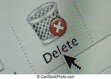 Close-up of an interface computer delete and junk mail...