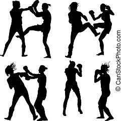 kickboxing woman - four pair of woman on the training in...