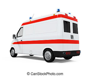 Ambulance Car isolated on white background 3D render