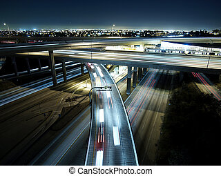 L.A. Freeway - Los Angeles Freeway interchange late at...