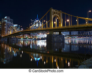 Pittsburgh Bridges at Night - Pittsburgh skyline, Ohio River...