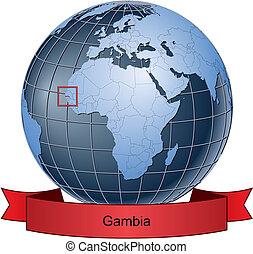 Gambia, position on the globe Vector version with separate...
